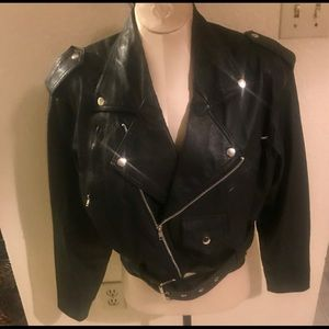 Black all leather motorcycle jacket medium